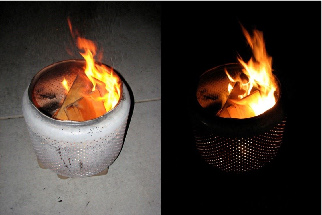 upcycled washing machine drum fire pit