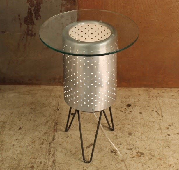 upcycled washing machine drum illuminated coffee table by Conant Metal and Light