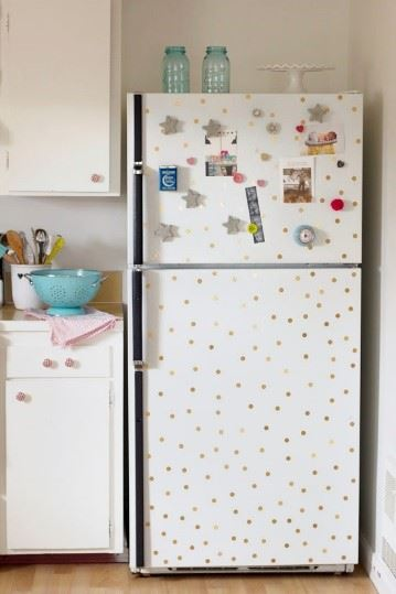decorate fridge - polka dot fridge