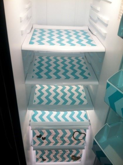 decorate fridge - shelves with a difference