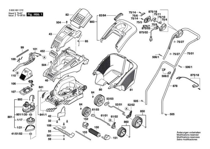 Bosch Rotak 43 3600h81d71 Lawnmower Diagram 1 Spare