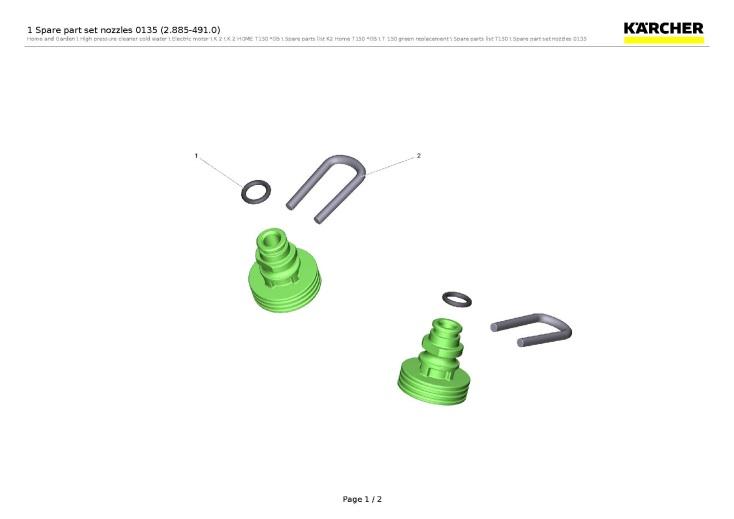 karcher k2 home t150 gb (1 673-242 0) pressure washer 1 spare part set  nozzles 0135 (2 885-491 0) spare parts diagram