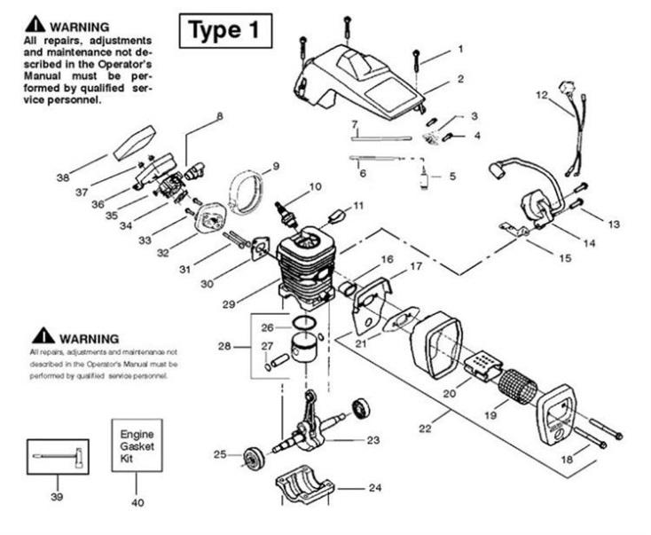 Partner 401 952801947 Chainsaw Engine1 Spare Parts Diagram