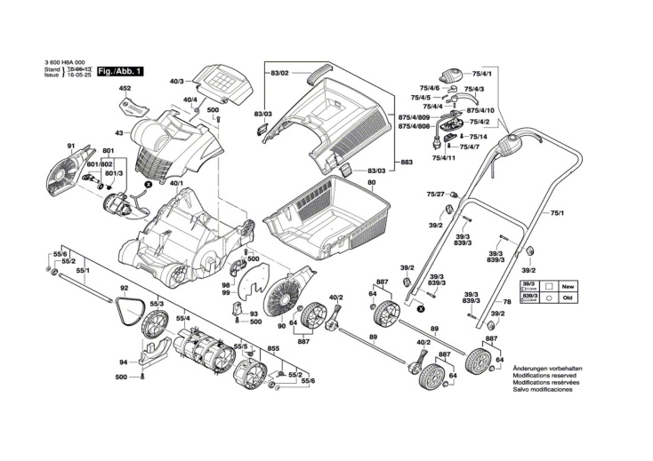 Bosch Alr 900  3600h8a070  Lawnrake Diagram 1 Spare Parts