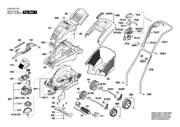 Bosch Rotak 34 3600h81a72 Lawnmower Diagram 1 Spare
