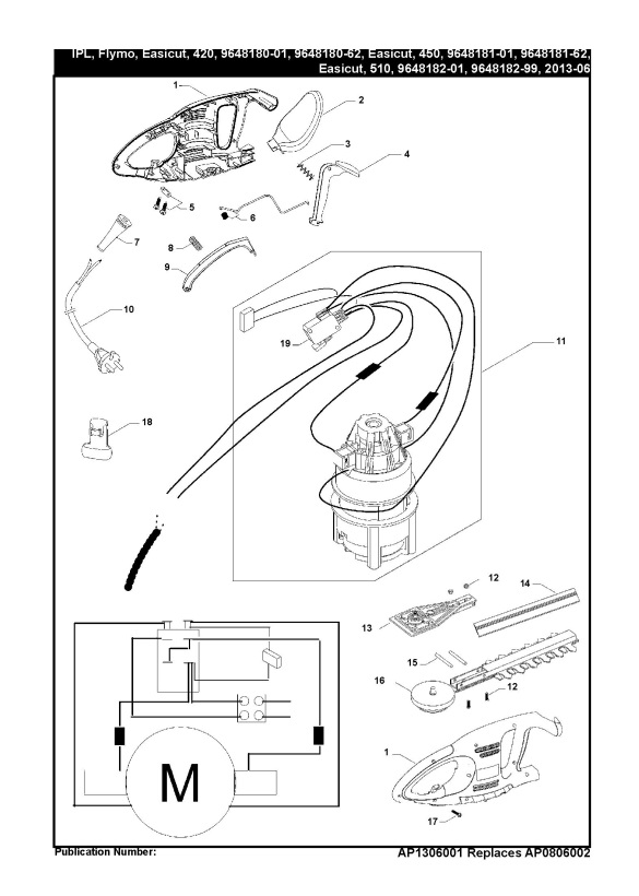 flymo easicut 510  964818201  hedge trimmer product complete spare parts diagram