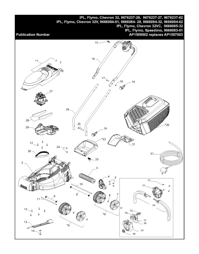 flymo chevron 32 v  966608401  lawnmower product complete spare parts diagram