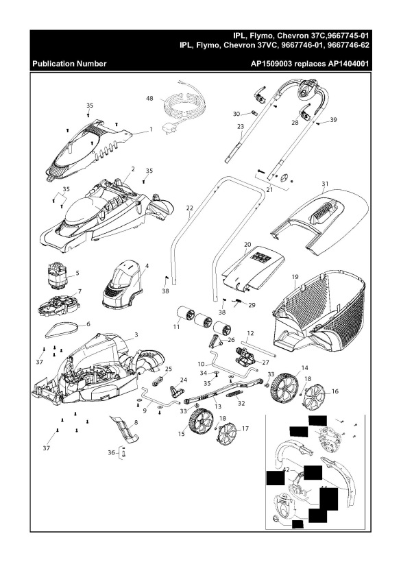 flymo chevron 37c  966774501  lawnmower product complete spare parts diagram