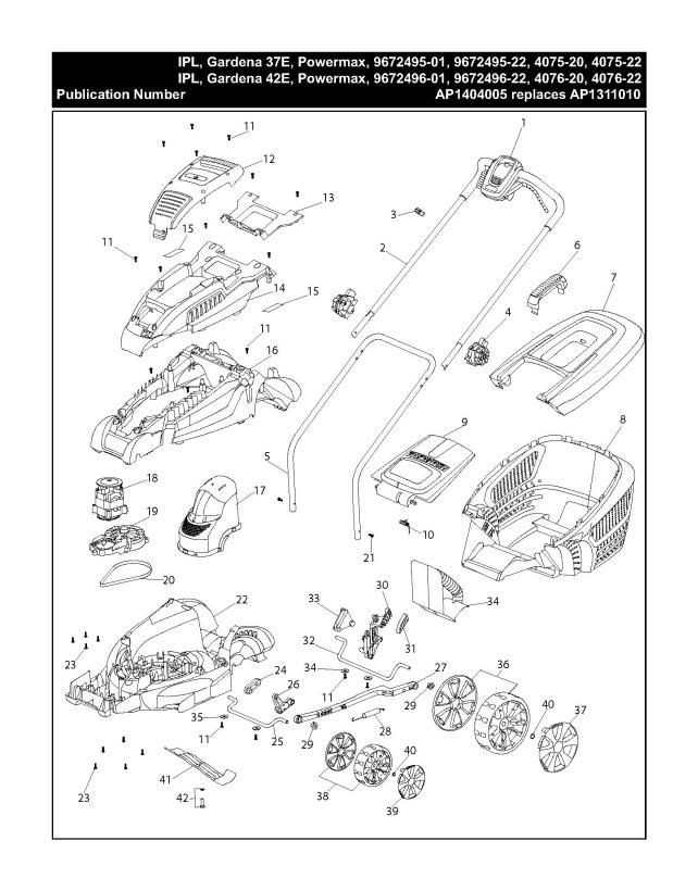 gardena power max 42 e  967249601  lawnmower product complete spare parts diagram