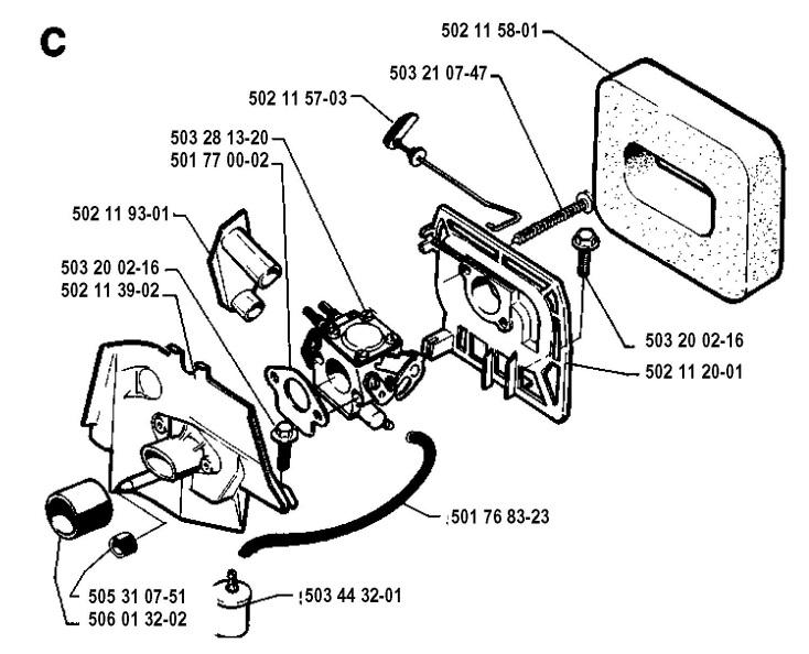 Husqvarna 245 R 1994 04 Trimmer Carburetor Amp Air Filter