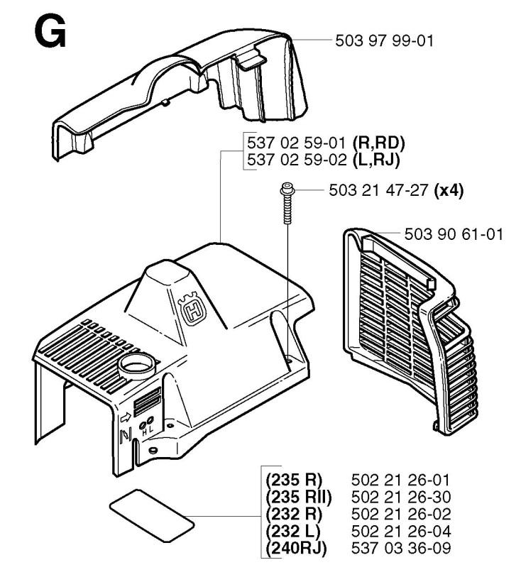 Husqvarna 240 Rj 2002 09 Trimmer Cylinder Cover Spare Parts Diagram