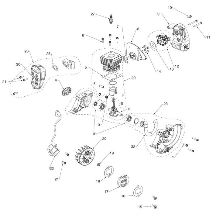 Husqvarna 129 R  967193301  Trimmer Engine Spare Parts Diagram