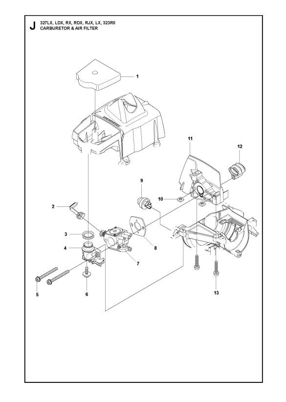 husqvarna 323 rii (2012-01) trimmer carburetor & air filter spare parts  diagram