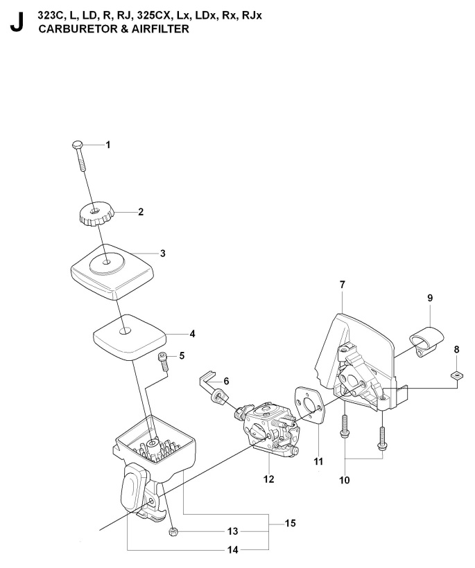 Husqvarna 323 R 2014 12 Trimmer Carburetor Air Filter Spare
