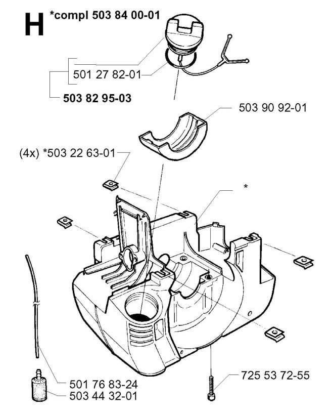 Husqvarna 225 R 1997 02 Trimmer Crankcase Spare Parts Diagram