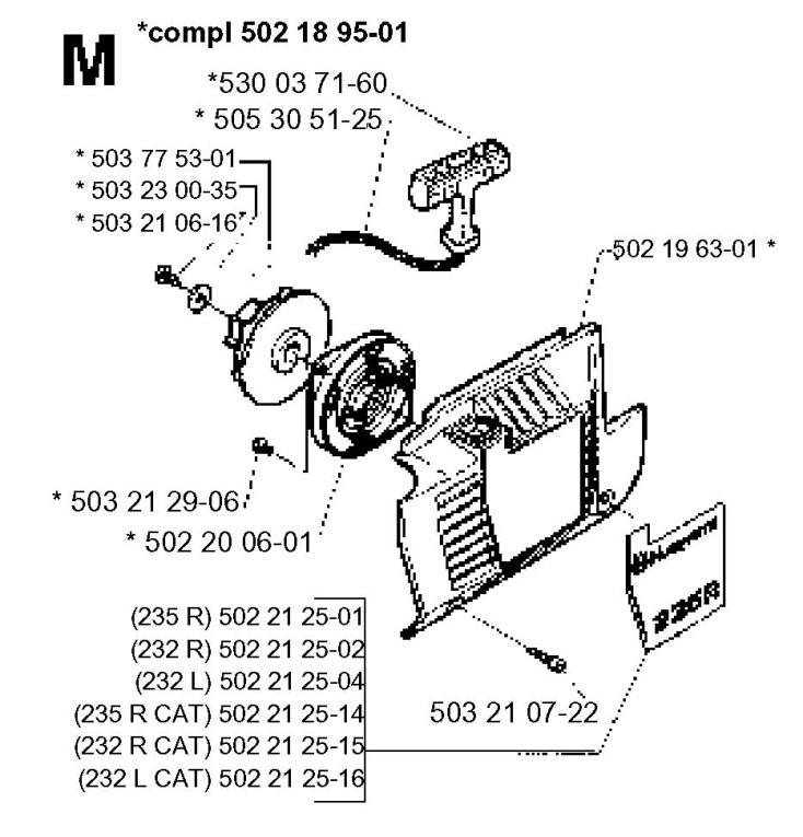 Husqvarna 232 R (1995-11) Trimmer STARTER Spare Parts Diagram