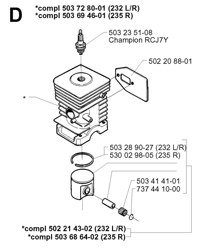 Husqvarna 235 R 1998 01 Trimmer Cylinder Piston Spare Parts Diagram