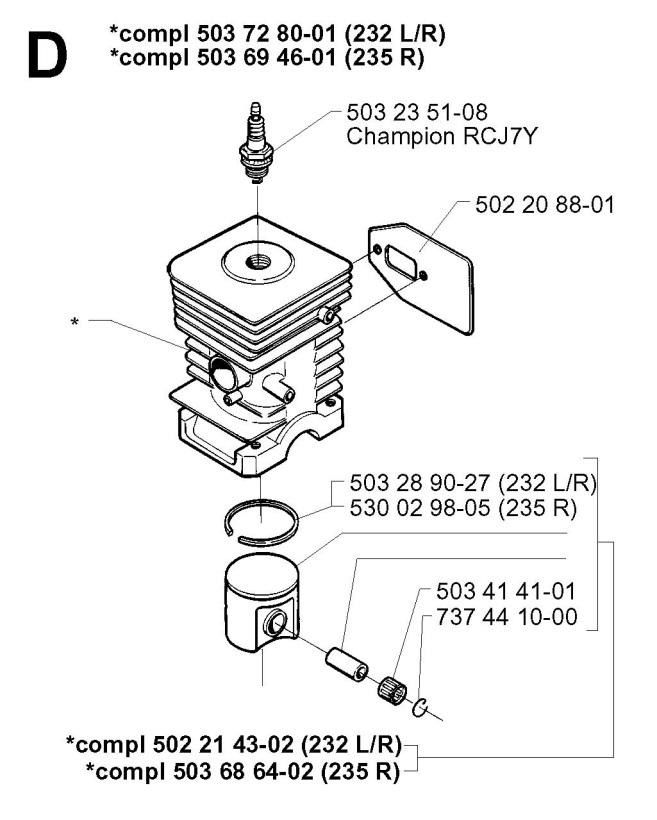 Husqvarna 232 R (1997-02) Trimmer CYLINDER PISTON Spare