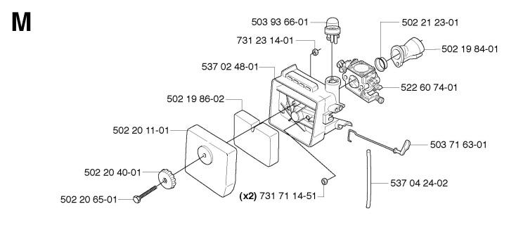 husqvarna 235 fuel line diagram