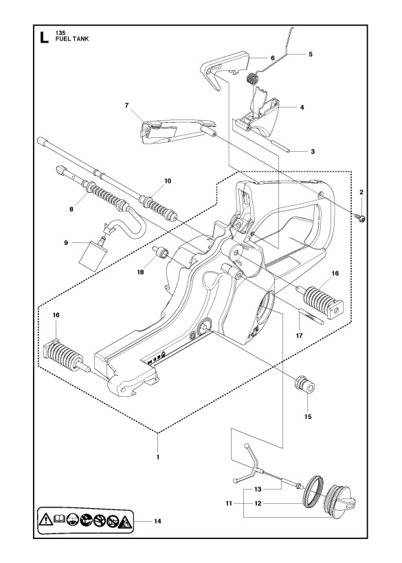 Husqvarna 135 2011 08 Chainsaw Fuel Tank Spare Parts Diagram
