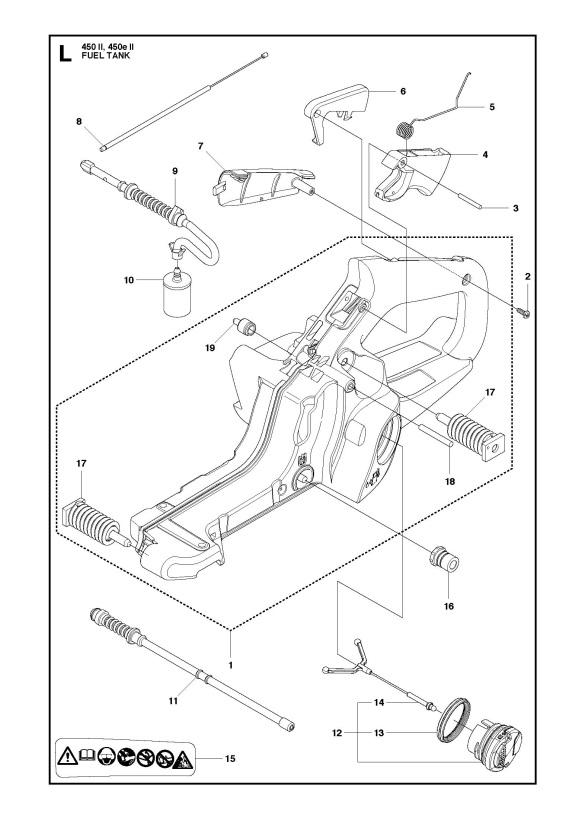 Husqvarna 450 E Ii Chainsaw Fuel Tank Spare Parts Diagram
