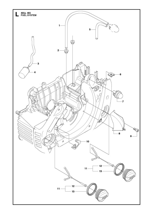 Husqvarna 455 RANCHER Chainsaw FUEL SYSTEM Spare Parts Diagram