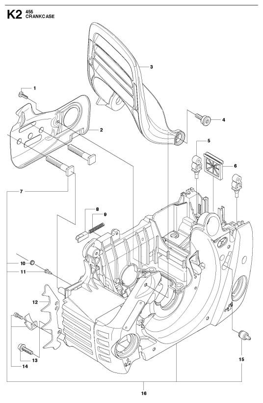 Husqvarna 455 Rancher Chainsaw Crankcase Spare Parts Diagram