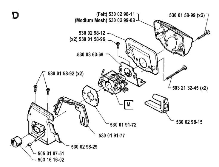 Husqvarna 41 1991 06 Chainsaw Carburetor Air Filter Spare Parts