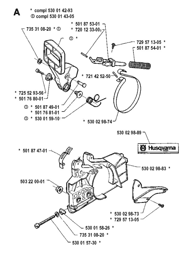 Husqvarna 36 (1991-06) Chainsaw CHAIN BRAKE Spare Parts Diagram