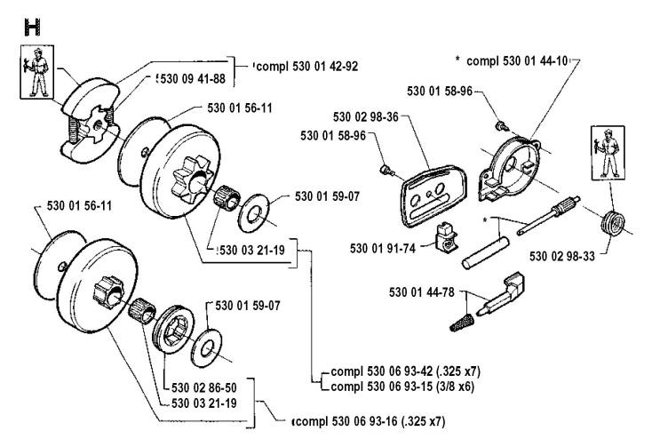 Husqvarna 41 (1991-06) Chainsaw CLUTCH & OIL PUMP Spare Parts Diagram