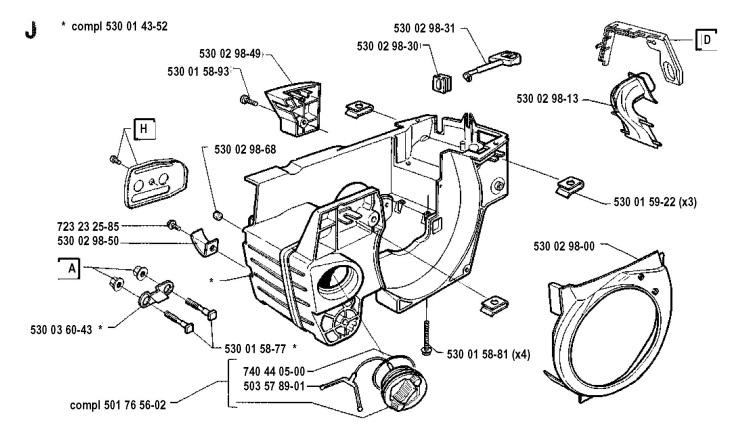 Husqvarna 41 (1991-06) Chainsaw CRANKCASE Spare Parts Diagram