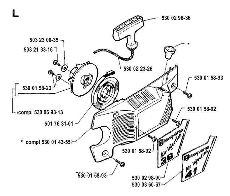Husqvarna 41 (1991-06) Chainsaw STARTER Spare Parts Diagram