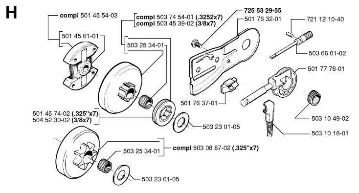 Husqvarna04454 husqvarna 55 (1998 06) chainsaw clutch & oil pump spare parts diagram