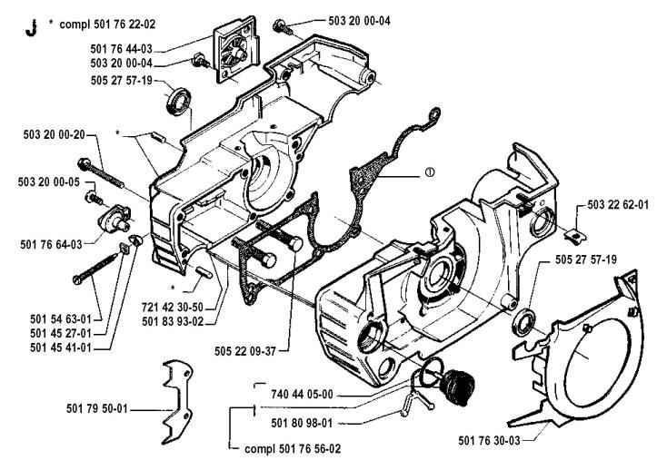 Husqvarna 51 1990 01 Chainsaw Crankcase Spare Parts Diagram