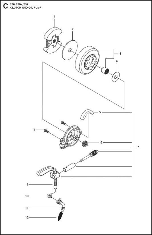 Husqvarna04519 husqvarna 236 (967326401) chainsaw clutch & oil pump spare parts diagram