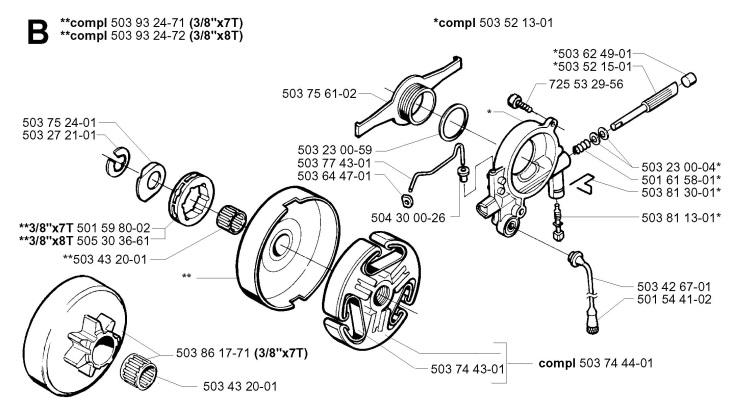 Husqvarna04611 husqvarna 365 special epa (2002 01) chainsaw clutch & oil pump spare