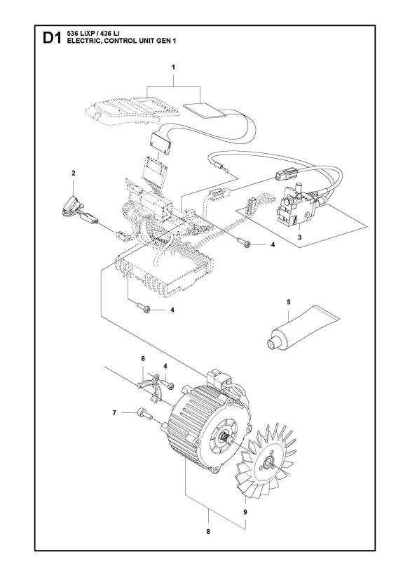 husqvarna 536 lixp chainsaw electrical spare parts diagram