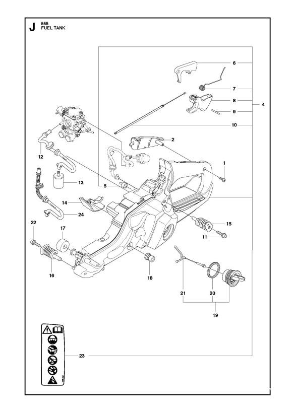Husqvarna 555 Chainsaw Fuel Tank Spare Parts Diagram