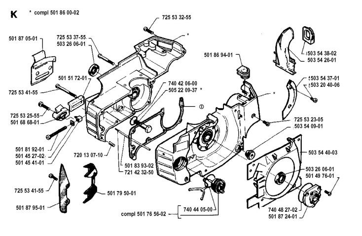 Husqvarna 262 Xp 1992 11 Chainsaw Crankcase Spare Parts