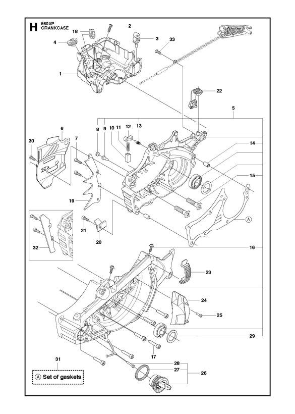 Husqvarna 560 Xp Xpg Chainsaw Crankcase Spare Parts Diagram