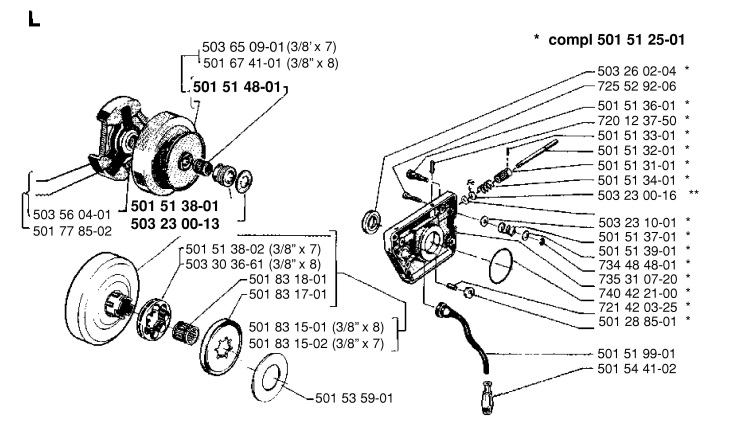 husqvarna 266 chainsaw clutch  u0026 oil pump spare parts diagram