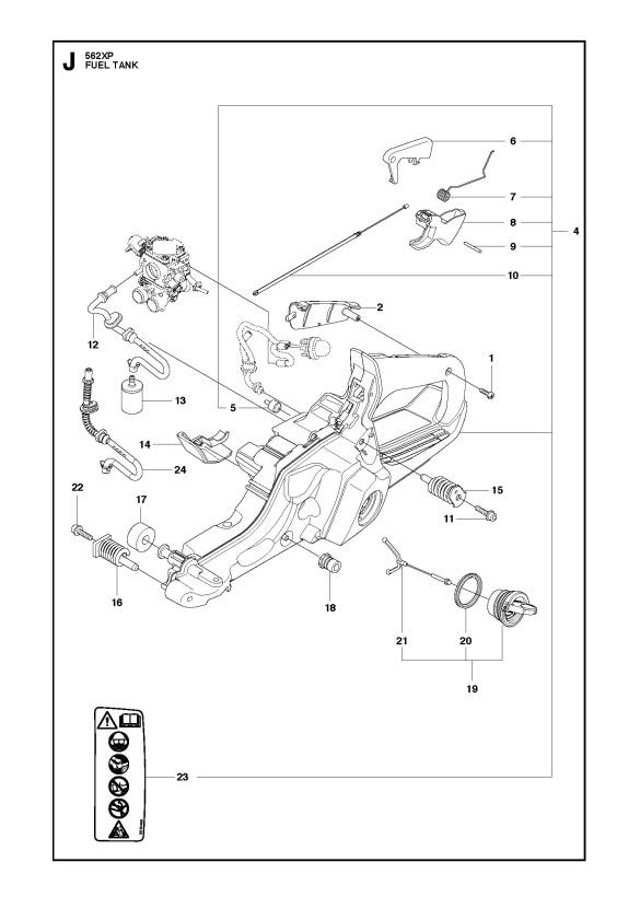 husqvarna 562 xp  xpg chainsaw fuel tank spare parts diagram
