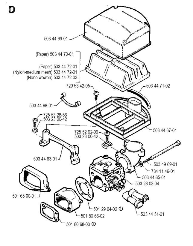 Husqvarna 268 1990 05 Chainsaw Carburetor Air Filter Spare Parts