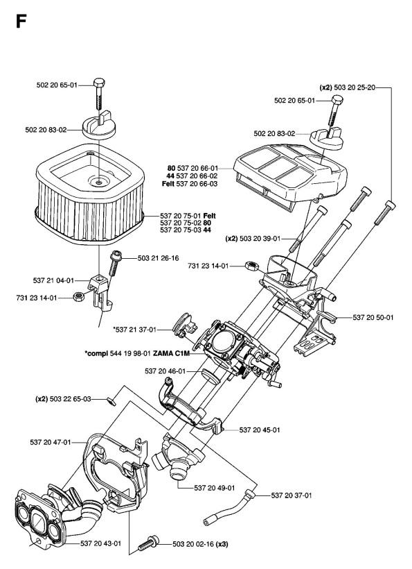 best husqvarna 570 chainsaw parts diagram