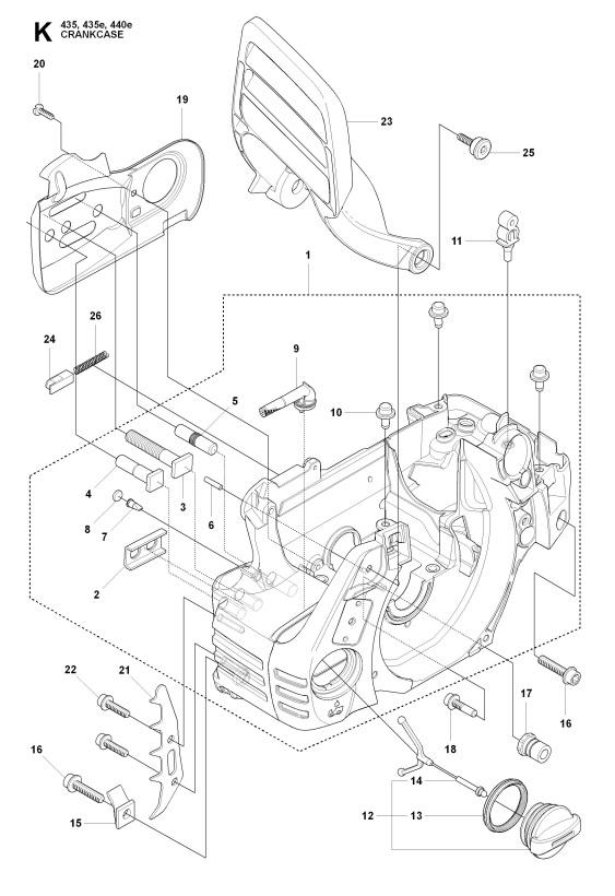 Husqvarna 435 2009 02 Chainsaw Crankcase Spare Parts Diagram