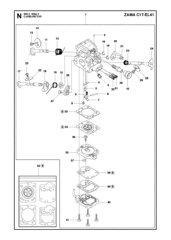 Husqvarna 435 Ii Chainsaw Carburetor Spare Parts Diagram