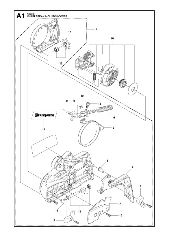 Husqvarna 435 Ii Chainsaw Chain Brake Clutch Cover Spare Parts Diagram