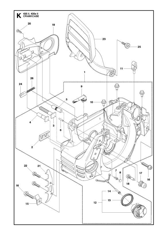 Husqvarna 435 Ii Chainsaw Crankcase Spare Parts Diagram