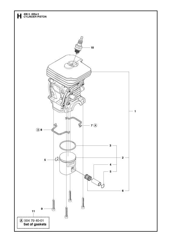 Husqvarna 435 Ii Chainsaw Cylinder Piston Spare Parts Diagram