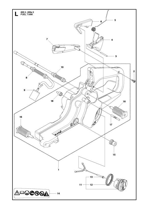 Husqvarna 435 Ii Chainsaw Fuel Tank Spare Parts Diagram